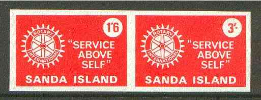 Sanda Island 1965 Rotary Clubs se-tenant imperf set of 2 (1s6d & 3s red) unmounted mint
