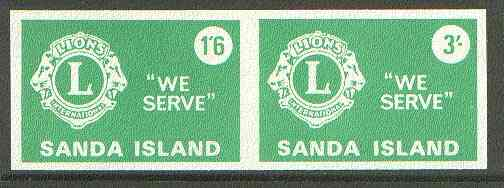Sanda Island 1965 Lions International se-tenant imperf set of 2 (1s6d & 3s green) unmounted mint