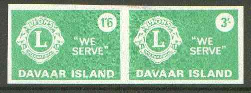 Davaar Island 1965 Lions International se-tenant imperf set of 2 (1s6d & 3s green) unmounted mint