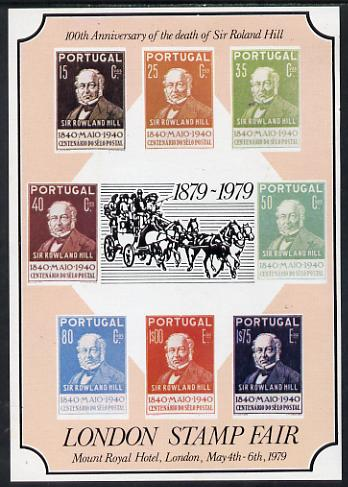 Exhibition souvenir sheet for 1979 London Stamp Fair showing  Portugal Rowland Hill set of 8, with 'ROLAND' error, unmounted mint