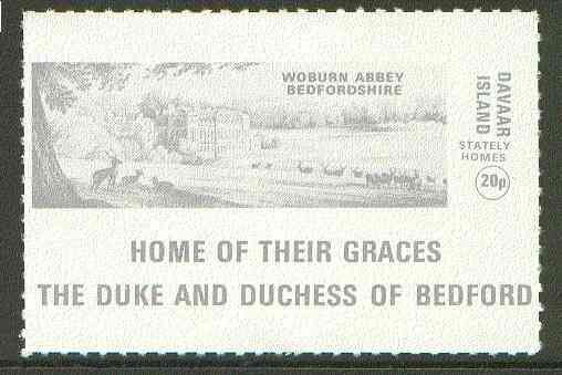 Davaar Island 1973 Woburn Abbey 20p grey Rouletted with tab (Home of their Graces The Duke & Duchess of Bedford) unmounted mint