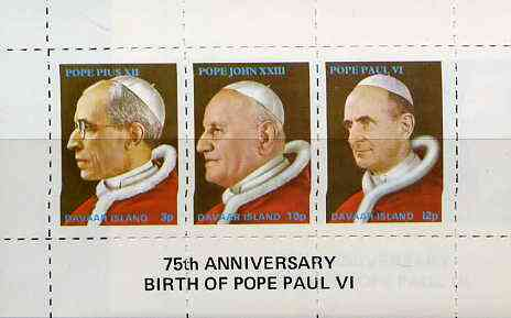 Davaar Island 1973 Popes (Pius XII, John XXIII & Paul VI) rouletted m/sheet unmounted mint with 75th Birth Anniversary of Pope Paul VI imprint