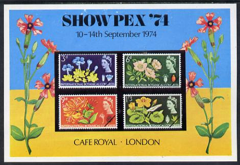 Exhibition souvenir sheet for 1974 Showpex showing  Great Britain Botanical set of 4 unmounted mint