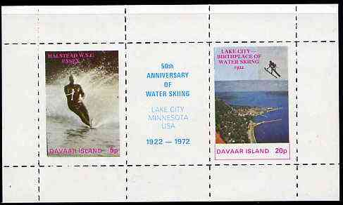 Davaar Island 1972 Water Skiing 75th Anniversary rouletted m/sheet containing set of 2 plus label unmounted mint
