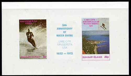 Davaar Island 1972 Water Skiing 75th Anniversary imperf m/sheet containing set of 2 plus label unmounted mint