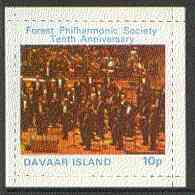 Davaar Island 1973 Tenth Anniversary of Forest Philharmonic Orchestra 10p rouletted m/sheet unmounted mint
