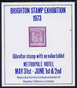 Exhibition souvenir sheet for 1973 Brighton Stamp Exhibition showing Gibraltar QV