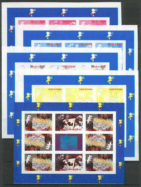 Somaliland 2000 Walt Disney & Seven Dwarfs sheetlet containing set of 8 values in tete-beche format plus Bangkok 2000 label, the set of 5 imperf progressive proofs comprising various 3-colour and all 4-colour composites unmounted mint