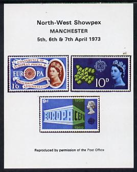 Exhibition souvenir sheet for 1973 North West Showpex showing  Great Britain Europa stamps unmounted mint