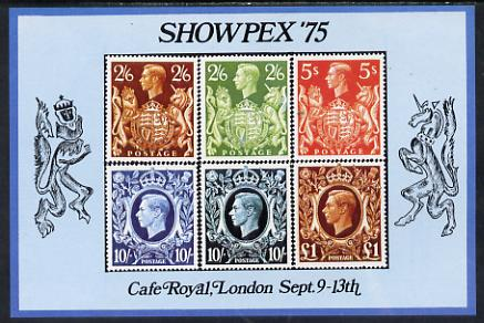 Exhibition souvenir sheet for 1975 Showpex showing  Great Britain 1939 High values (6) unmounted mint