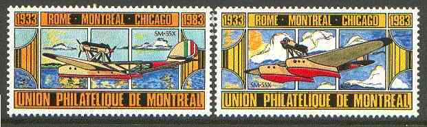 Cinderella - Canada 1933 set of 2 beautifully coloured labels showing the Savoir-Macchi 55X produced by Union Philatelique de Montreal unmounted mint