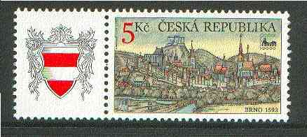 Czech Republic 2000 BRNO 2000 Stamp Exhibition 5k stamp with label (Arms) unmounted mint
