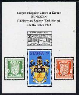 Exhibition souvenir sheet for 1972 Runcorn Christmas Stamp Exhibition showing Jersey Wartime pair plus Staffa