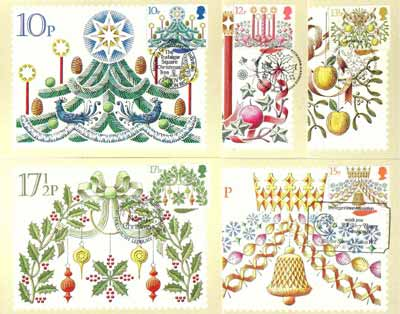 Great Britain 1980 Christmas set of 5 PHQ cards with appropriate stamps each very fine used with first day cancels
