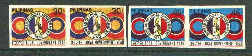 Philippines 1979 Local Government set of 2 in imperf pairs on gummed wmk'd paper (from the single imperf archive sheets) as SG 1557-58 unmounted mint
