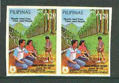 Philippines 1985 Tree Week 1p20 imperf pair on gummed wmk'd paper (from the single imperf archive sheet) as SG 1924