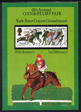 Exhibition souvenir sheet for 1975 6th York Coin & Stamp Fair showing  Great Britain Hastings 1s3d unmounted mint
