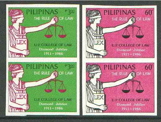 Philippines 1986 College of Law set of 2 in imperf pairs on gummed wmk'd paper (from the single imperf archive sheets) as SG 1942-43
