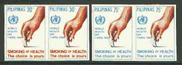 Philippines 1980 World Health Day - Anti Smoking set of 2 in imperf pairs on gummed wmk'd paper (from the single imperf archive sheets) as SG 1585-86