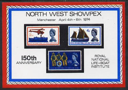 Exhibition souvenir sheet for 1974 North West Showpex showing Great Britain Lifeboat set of 3 unmounted mint