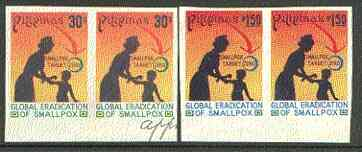 Philippines 1978 Global Eradication of Smallpox set of 2 in imperf pairs on gummed wmk'd paper (from the single imperf archive sheets) as SG 1477-78