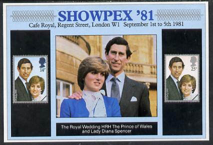 Exhibition souvenir sheet for 1981 Showpex showing  Great Britain Royal Wedding pair unmounted mint