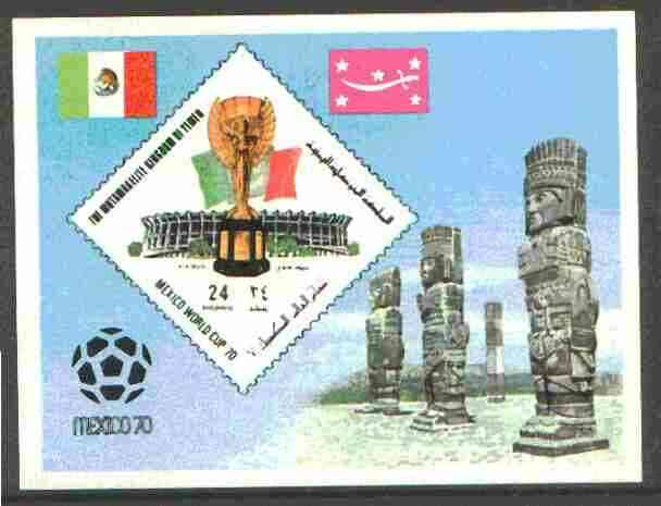 Yemen - Royalist 1970 World Cup Football 24b value (diamond shaped) imperf m/sheet unmounted mint