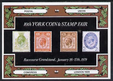 Exhibition souvenir sheet for 1979 10th York Coin & Stamp Fair showing  Great Britain PUC low values unmounted mint