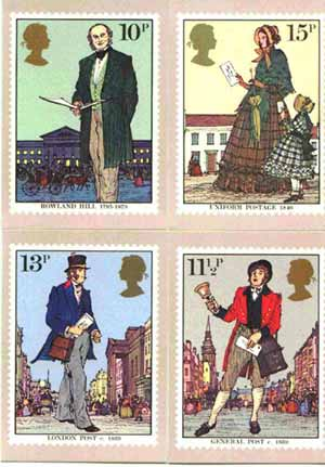 Great Britain 1979 Death Centenary of Sir Rowland Hill set of 4 PHQ cards unused and pristine