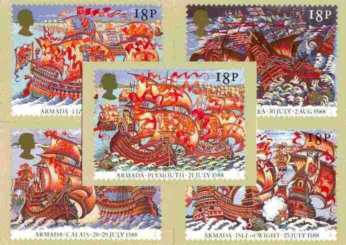 Great Britain 1988 Spanish Armada 400th Anniversary set of 5 PHQ cards unused and pristine