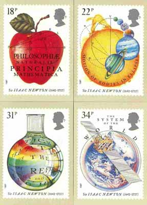 Great Britain 1987 Newton's Principles of Mathematics set of 4 PHQ cards unused and pristine