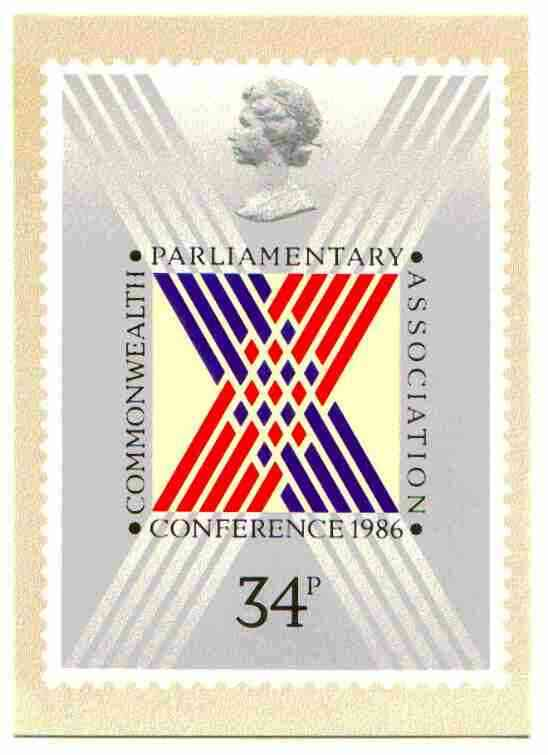 Great Britain 1986 Commonwealth Parliamentary Association Conference PHQ card unused and pristine