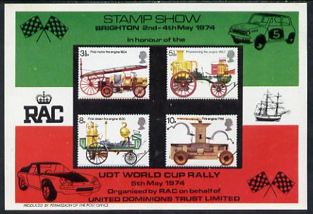 Exhibition souvenir sheet for 1974 Brighton Stamp Exhibition showing Great Britain Fire Engines set of 4 featuring UDT rally sponsored by RAC