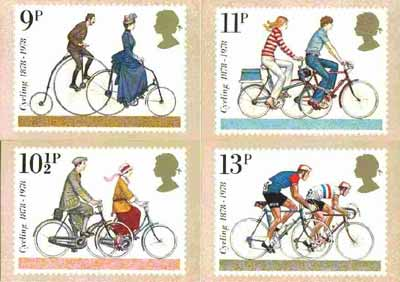 Great Britain 1978 Cycling Centenaries set of 4 PHQ cards unused and pristine