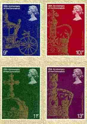 Great Britain 1978 Coronation 25th Anniversary set of 4 PHQ cards unused and pristine