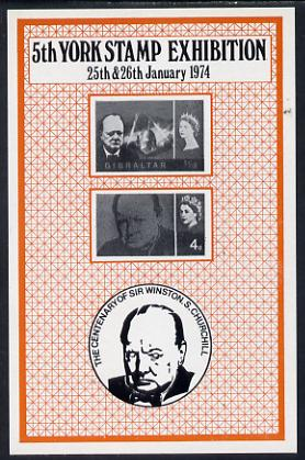 Exhibition souvenir sheet for 1974 5th York Coin & Stamp Fair showing Churchill stamps unmounted mint