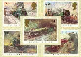 Great Britain 1985 Famous Trains set of 5 PHQ cards unused and pristine