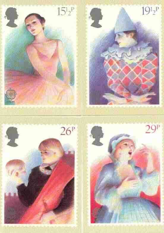 Great Britain 1982 Europa - British Theatre set of 4 PHQ cards unused and pristine
