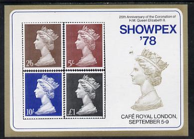 Exhibition souvenir sheet for 1978 Showpex showing  Great Britain Machin high values set of 4 unmounted mint