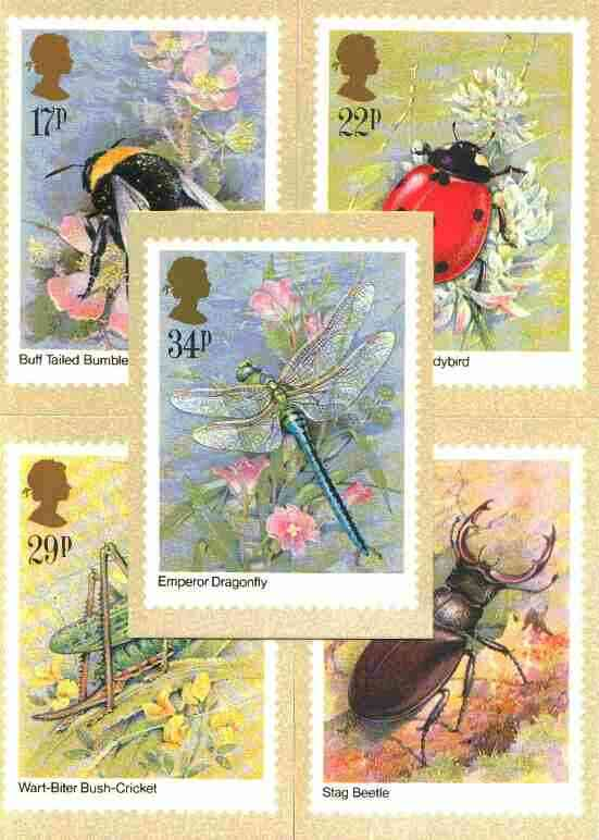 Great Britain 1985 Insects set of 5 PHQ cards unused and pristine