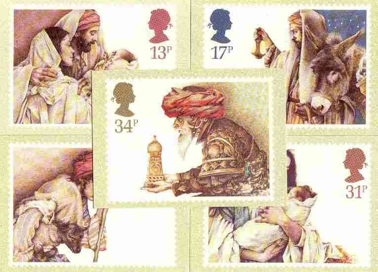 Great Britain 1984 Christmas set of 5 PHQ cards unused and pristine