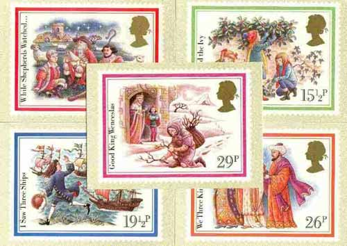 Great Britain 1982 Christmas - Carols set of 5 PHQ cards unused and pristine