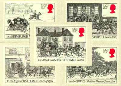 Great Britain 1984 First Mail Coach Run set of 5 PHQ cards unused and pristine