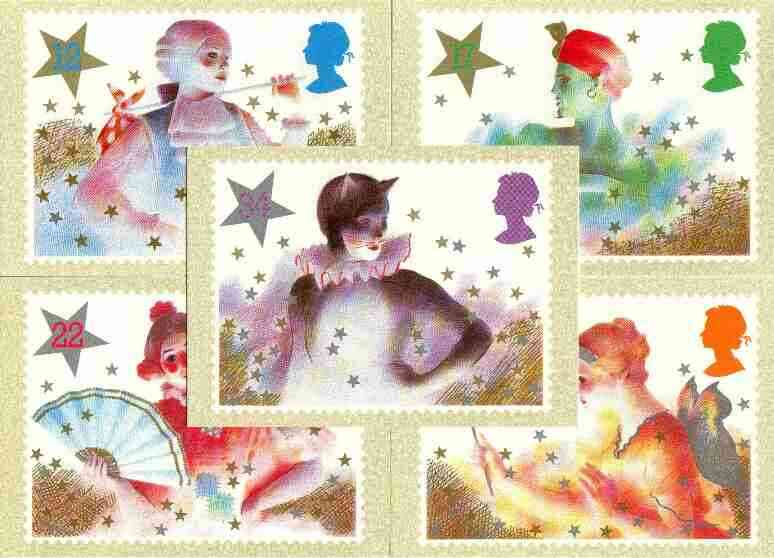 Great Britain 1985 Christmas -Pantomime Characters set of 5 PHQ cards unused and pristine