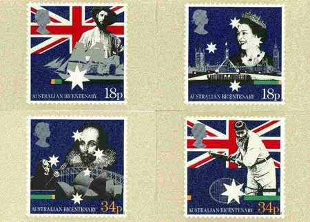 Great Britain 1988 Bicentenary of Australian Settlement set of 4 PHQ cards unused and pristine