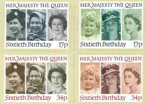 Great Britain 1986 Queen's 60th Birthday set of 4 PHQ cards unused and pristine