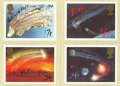 Great Britain 1986 Halley's Comet set of 4 PHQ cards unused and pristine
