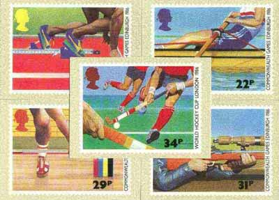 Great Britain 1986 Commonwealth Games & World Hockey Cup set of 5 PHQ cards unused and pristine