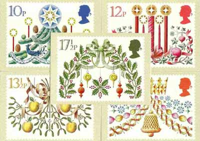 Great Britain 1980 Christmas set of 5 PHQ cards unused and pristine