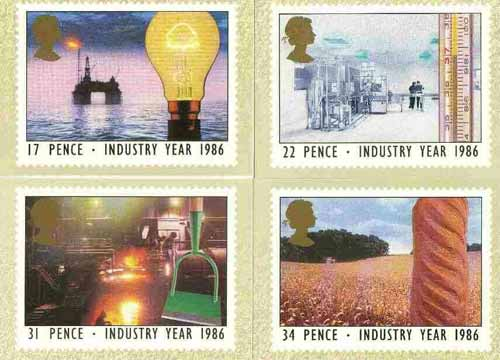 Great Britain 1986 Industry Year set of 4 PHQ cards unused and pristine